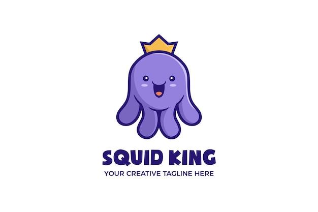 Niedliche tintenfisch-könig-maskottchen-charakter-logo-vorlage