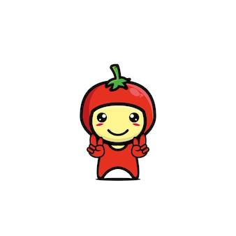 Niedliche tomaten-cartoon-figur cartoon-charakter-illustrationsdesign einfache flache art
