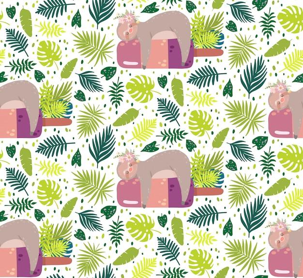 Niedliche trägheit, die auf der eiscreme umgeben durch grüne tropische blätter schläft.