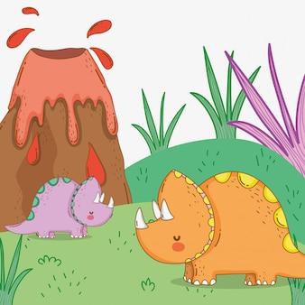 Niedliche triceratops verbinden wildtiere mit vulkan