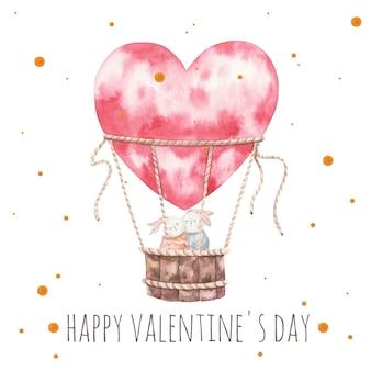 Niedliche umarmende kaninchen, die in einem ballon, valentinstagskarte, blumen umarmen