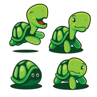 Niedliche und entzückende grüne schildkrötenmaskottchenillustration.