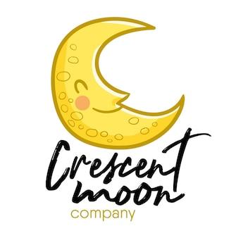 Niedliche und kawaii lustige illustrative logo-vorlage für halbmondfirma