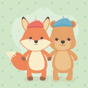 Niedliche und kleine fuchs- und bärenfiguren