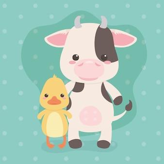 Niedliche und kleine kuh- und entencharaktere