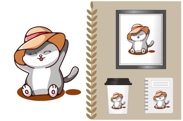Niedliche und lustige katze, die hutkarikaturillustration trägt