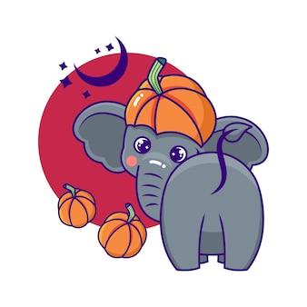 Niedliche und verspielte halloween-elefant-cartoon-figur mit fledermäusen und kürbissen