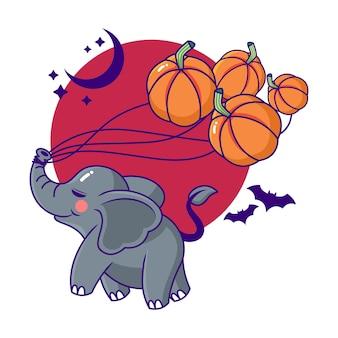 Niedliche und verspielte halloween-elefanten-cartoon-figur mit fledermäusen und kürbissen
