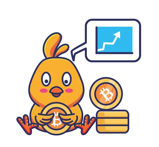 Niedliche up-trendmarkt-chart-bitcoin-küken, die münze halten. tier flach cartoon-stil illustration symbol premium-vektor-logo-maskottchen geeignet für web-design-banner-charakter