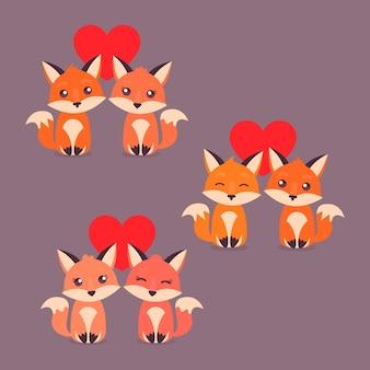 Niedliche valentinstag-fuchspaare