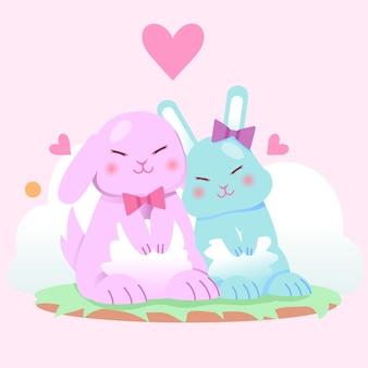 Niedliche valentinstag tierpaare mit hasen