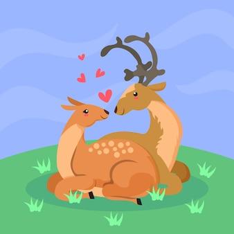 Niedliche valentinstag tierpaare