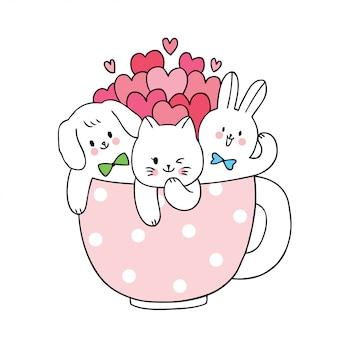 Niedliche valentinstagkatze und hund und kaninchen der karikatur und viele herzen im schalenkaffee.