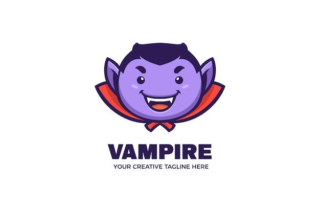 Niedliche vampir-halloween-party-maskottchen-logo-vorlage