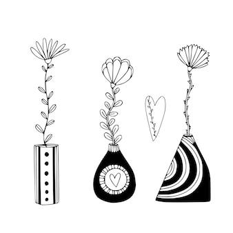 Niedliche vasen mit blumen. blumiger innendruck im handgezeichneten stil