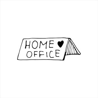 Niedliche vektor handgezeichnete schrifttafel über home office, online-arbeit, bleiben sie zu hause, arbeiten sie zu hause. pandemie-schutz. quarantäne positive doodle-symbole, home-elemente. isoliert auf weißem hintergrund.