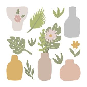 Niedliche vektor-set von vasen und blättern blumen boho kindergarten clipart handgezeichnete gekritzelillustration