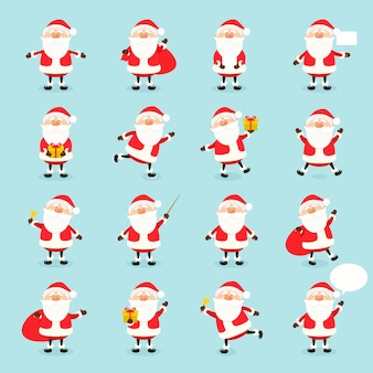 Niedliche vektor-weihnachtsmann-symbol im flachen stil, weihnachtskollektion, weihnachten und neujahrscharakter in verschiedenen posen. lustiger weihnachtsmann mit verschiedenen emotionen. entwurfsvorlage in eps10.