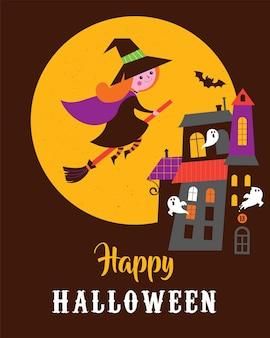 Niedliche vektorgrußkarten halloween mit hexe und spukhaus, schloss