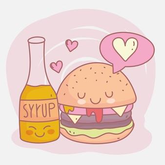 Niedliche vektorillustration des burger- und sirupmenü-restaurantlebensmittels