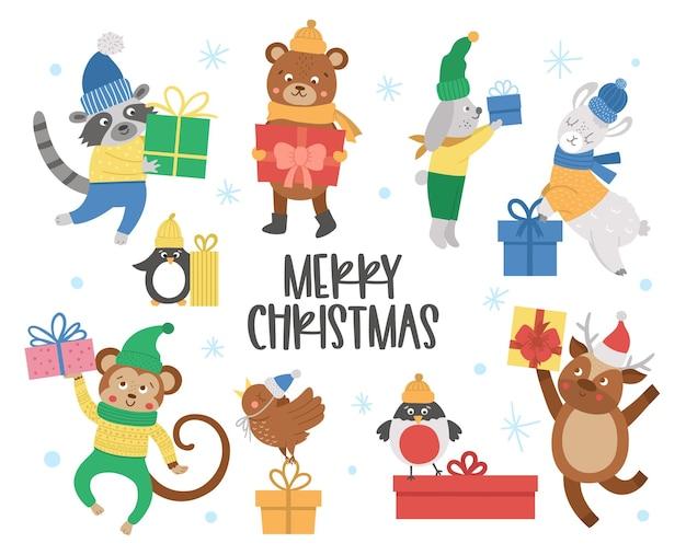 Niedliche vektortiere in hüten, schals und pullovern mit geschenken und schneeflocken. winterset mit geschenken. lustige weihnachtskartenentwürfe. neujahrsdruck mit lächelndem charakter