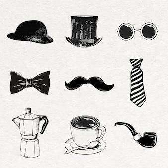 Niedliche vintage-aufkleber in schwarz-weiß-skizzen-set