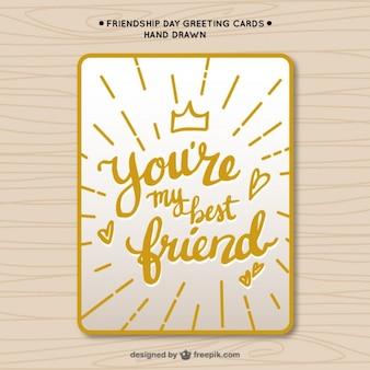 Niedliche vintage gelbe freundschaftskarte