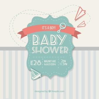 Niedliche vintage-karte für baby-dusche