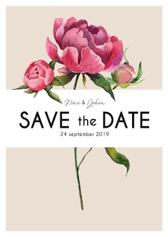 Niedliche vintage save the date karte mit aquarellpfingstrosen