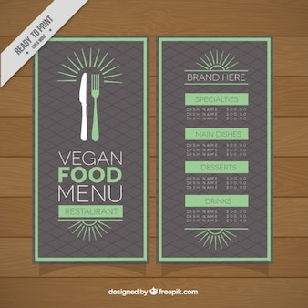 Niedliche vintage veganes restaurant menü