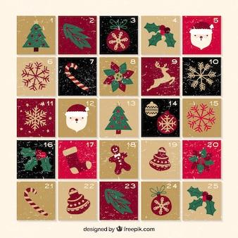 Niedliche vintage weihnachtsaufkommen-kalender