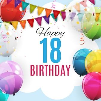 Niedliche vorlage 18 jahre jubiläum. gruppe farbglatte helium-ballone