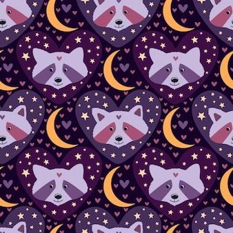 Niedliche waschbären mit sternen und monden in rosa und lila farben für kinderpyjamas oder pyjama-dekorationen.