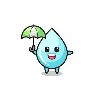 Niedliche wassertropfenillustration, die einen regenschirm hält, niedliches stildesign für t-shirt, aufkleber, logoelement