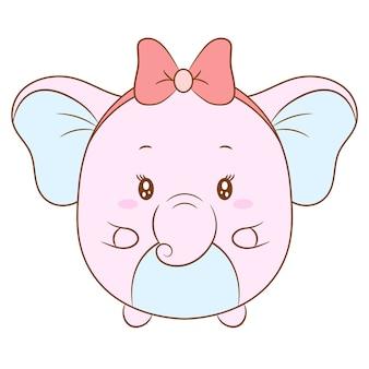 Niedliche weibliche elefantenzeichnung des babys