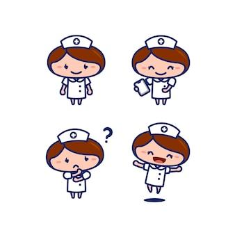Niedliche weibliche krankenschwester medizinisches personal zeichentrickfigur im chibi-stil-set