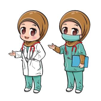 Niedliche weibliche muslimische doktorcharaktere setzen
