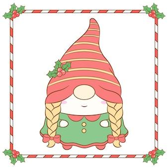 Niedliche weibliche weihnachtsgnome, die mit langem roten beerenhut und rahmen zeichnen