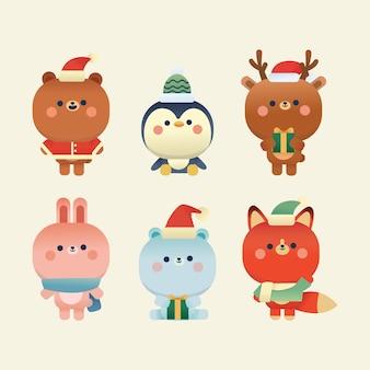 Niedliche weihnachtselemente bär, polabär, kaninchen, pinguin, hirsch und fuchs