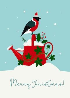 Niedliche weihnachtskarten-gießkanne mit stechpalmen- und efeublättern, dompfaff