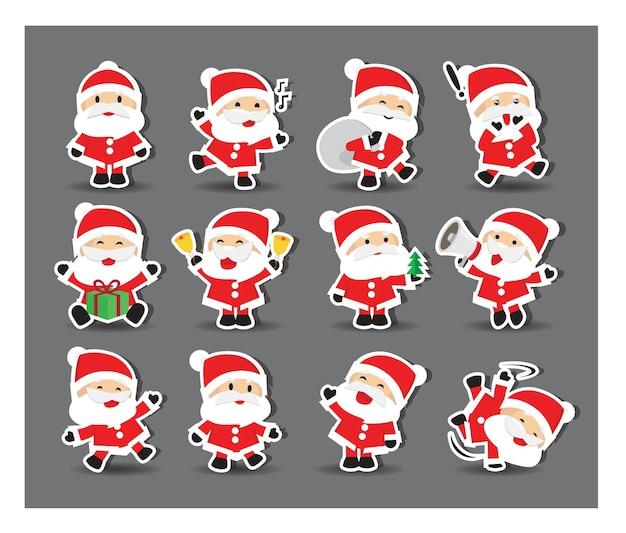 Niedliche weihnachtsmann-aufkleber mit zwölf alternativen posen
