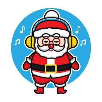 Niedliche weihnachtsmann, der musikkarikaturvektorweihnachtskonzeptillustration hört premium-vektor