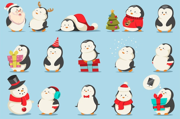 Niedliche weihnachtspinguine eingestellt. zeichentrickfigur von lustigen tieren in kostümen und mit geschenken.