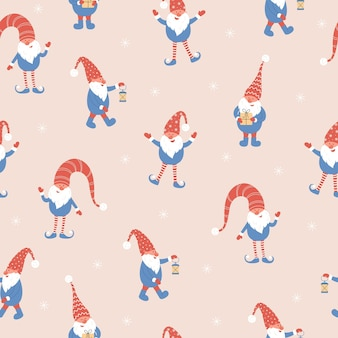 Niedliche weihnachtszwerge und schneeflocken nahtlose muster vektor-illustration mit zwergen in roten hüten
