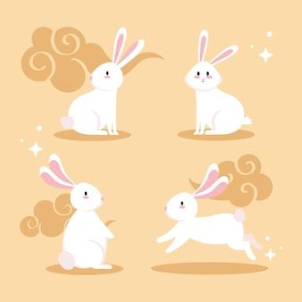 Niedliche weiße kaninchenkarikaturen mit wolkenentwurf, tierleben natur und charakterthema