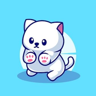 Niedliche weiße katze maskottchen charakter illustration vektor icon
