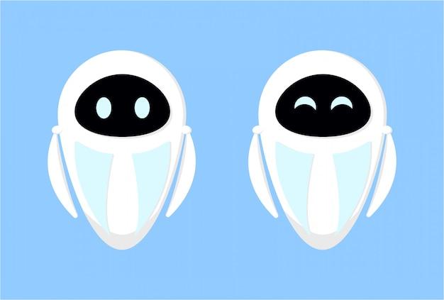 Niedliche weiße roboter für die site und technische support- und unterstützungsanwendungen. druck auf stoff, kleidung, konzeptbild der künstlichen intelligenz. stock illustration auf einem lippenhintergrund.