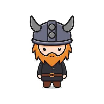 Niedliche wikinger-maskottchen-charakter-cartoon-symbol-illustration. entwerfen sie isolierten flachen cartoon-stil