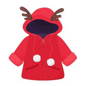 Niedliche winterjacke für kinder mit hirschgeweih und pompons. im flachen stil.