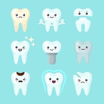 Niedliche zähne bunt eingestellt mit verschiedenen emotionen. unterschiedliche zahnbedingungen.